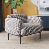 老虎椅单人沙发椅千鸟格美式椅子靠背扶手椅设计师创意休闲椅 千鸟格图片色