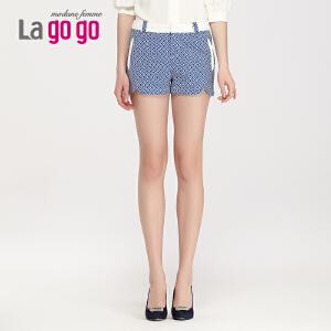Lagogo/拉谷谷2014夏季新款格子品味潮流百搭短裤