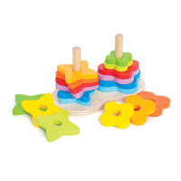 Hape彩虹渐变堆塔1-2岁儿童叠叠玩具益智婴幼玩具木制玩具E0406