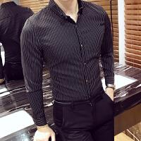 秋装长袖衬衫男士条纹衬衣韩版修身寸衣青年工装百搭商务正装寸衫