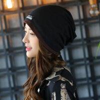 针织帽子女套头帽韩版包头帽围脖脖套两用帽产后月子帽女