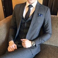 英伦绅士新款休闲小西装男士修身西服三件套涤纶100%