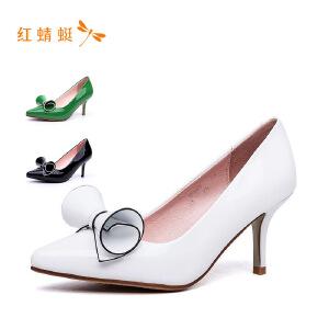 红蜻蜓女鞋单鞋真皮中跟单鞋尖头浅口鞋