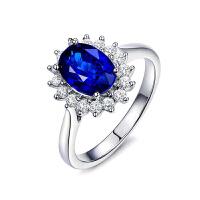 梦 梵雅 钻戒   彩宝戒指 18K金镶钻1克拉天然皇家蓝蓝宝石戒指