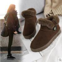 冬季新款韩版防水雪地靴女皮面百搭加绒保暖厚底防滑短筒棉鞋