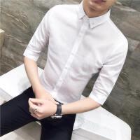 潮流花衬衫男士中袖2018新款薄韩版发型师衬衣七分袖帅气修身寸衫