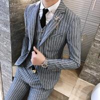 新款发型师夜店伴郎条纹西装马甲西裤三件套男士时尚修身免烫套装
