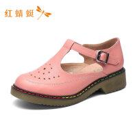 红蜻蜓女鞋新款学院风ins自由舒适中跟包头凉鞋女休闲鞋