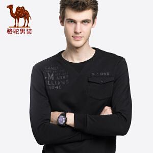 骆驼男装 2018秋季新款青年休闲印花上衣服舒适圆领长袖卫衣潮男