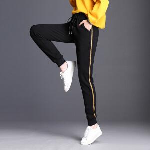 休闲运动裤女薄款长裤宽松大码条纹运动束脚长裤女