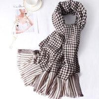 披肩两用针织千鸟格羊毛羊绒围巾女士冬季英伦格子围巾