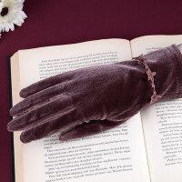 女保暖薄款韩版分指修手女款驾驶手套秋冬开车触摸屏手套