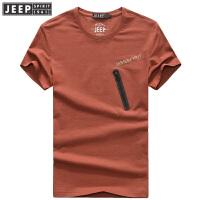JEEP吉普短袖T恤男2018夏装薄款圆领t恤衫男士时尚休闲纯色棉质打底汗衫