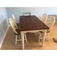 小美式�h尼斯��s美式�L格家具地中海��木餐桌餐椅 全��木1.4米餐桌+4把�厣�椅 全��木