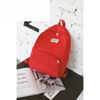 新款简约纯色双肩包女韩版潮初高中学生书包电脑包百搭旅行背包 红色 中