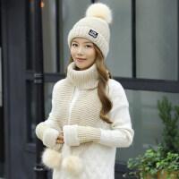 女士甜美可爱毛线帽子 韩版针织帽百搭帽子女 新款学生保暖加厚围脖一体帽