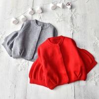 新年装 女童灯笼袖兔毛毛衣开衫秋冬中国红色针织外套小女孩上衣