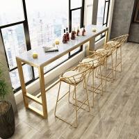 北欧铁艺大理石吧台桌椅组合家用高脚酒吧桌子现代简约长条奶茶店 桌260*40*105(大理石桌面)