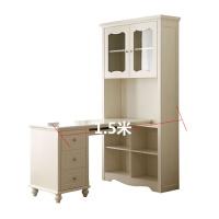 欧式房转角书桌书柜组合实木田园学生写字台电脑桌1.2米白色 是