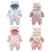 0-个月宝宝保暖哈衣外出新生儿秋冬季婴儿连体衣棉加厚加绒睡衣服