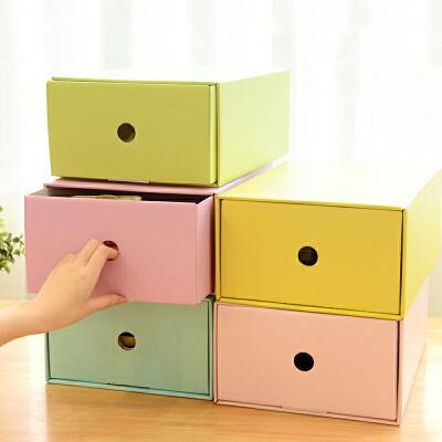桌面收纳盒 创意办公桌面加厚纸质抽屉实整理盒DIY撞色多功能鞋盒