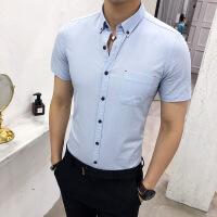 夏季男士纯色小清新衬衫韩版修身帅气七分袖衬衣青少年发型师寸衫