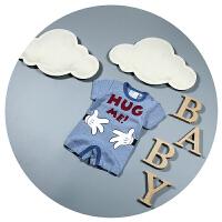 婴儿连体衣纯棉夏男女宝宝短袖平角哈衣3-9个月6新生儿卡通爬爬服