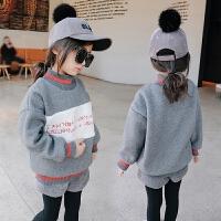 女童加绒卫衣2017冬装新款童装儿童上衣字母羊羔毛保暖绒衫外套
