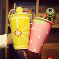 创意潮流杯子陶瓷马克杯大号超大可爱公主韩国水杯带盖 简约清新
