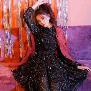 七格格雪纺印花连衣裙女夏装2018新款不规则心机裙子显瘦气质女神范衣服