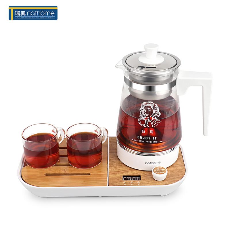 北欧欧慕NZC066煮茶器黑茶普洱玻璃电热水壶蒸茶壶保温蒸汽电煮茶壶 茶水分离,高温萃取,水温显示,喷淋冲泡