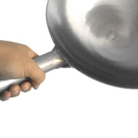 传统老式熟铁锅钢板锅无涂层炒锅加厚圆底精铁锅商用炒勺炒锅
