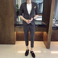 七分袖西服套装男春夏夜店发型师短袖潮男职业修身中袖小西装韩版