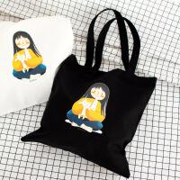 韩版简约原创单肩手提帆布袋休闲学生文艺女包厂家直销货源 卖猫咪的小女孩 白色 系带