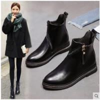 切尔西靴女春秋季新款欧美短靴女平底马丁靴英伦风短筒女靴子