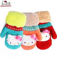 Hello Kitty凯蒂猫保暖手套女童韩版带挂绳手套卡通可爱宝宝连指手套