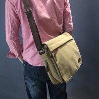 新款 帆布包男士包包休闲男包斜挎包旅行单肩包学生书包韩版中包 黑色