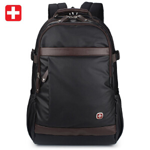 瑞吉仕/Regisu商务休闲双肩电脑包15.6寸 男女旅行背包(黑色)