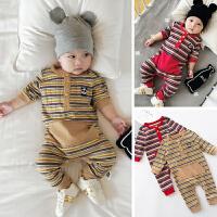 婴儿连体衣秋装新生儿哈衣条纹熊猫爬爬服秋季外出服韩版宝宝衣服