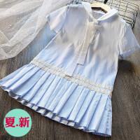 海军风女童纯棉百褶裙连衣裙 2018夏季新款儿童韩版纯棉条纹裙子