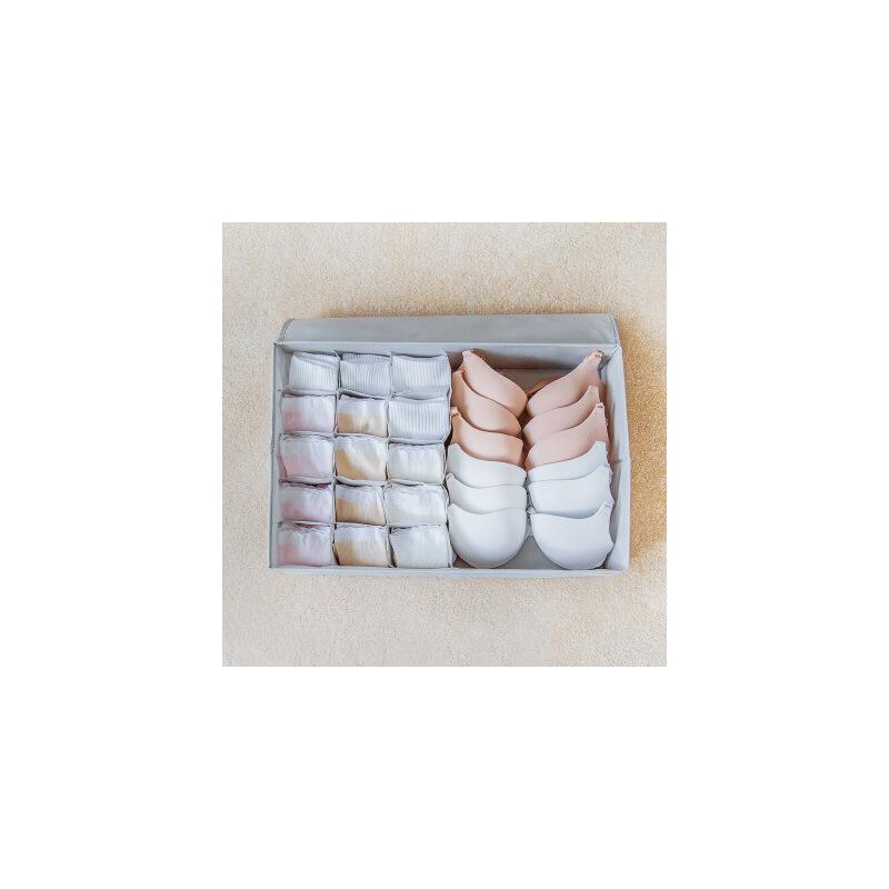 物有物语 内衣收纳盒 布艺牛津布多格可折叠有盖内裤袜子内衣盒文胸整理盒家用内衣收纳盒 二合一大容量、干净整洁