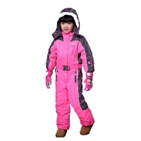 元单女童加厚连体防风防水服儿童滑雪套装新品 公主粉
