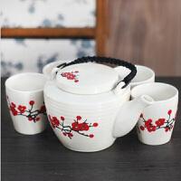 红兔子(HONGTUZI) 陶瓷梅花茶具五件套 瓷茶具百家姓创意茶具五件套泡茶器家用陶瓷