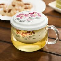 Evergreen爱屋格林时尚创意印花陶瓷过滤胆带盖耐热玻璃花茶杯