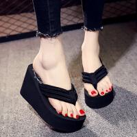 高跟拖鞋女夏9厘米厚底坡跟港风时尚粗跟防滑性感人字拖