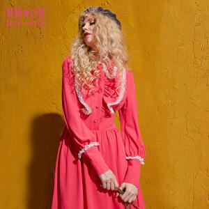 【尾品汇大促】妖精的口袋罗马故事秋装新款蕾丝木耳边拼接长袖连衣裙女