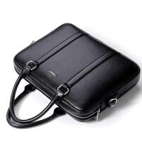 公文包男士手提包商务包男包电脑包单肩斜挎包包背包皮包横款
