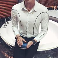 新款英伦男士修身长袖衬衫时尚免烫条纹衬衣夜场发型师职业装制服