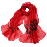 薄长款羊毛围巾真丝丝巾女桑蚕丝春秋红色羊毛围巾