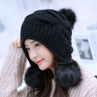 新款兔毛帽子女冬天毛线帽纯色护耳帽冬季双层保暖针织帽潮